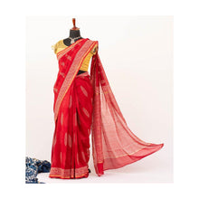 Load image into Gallery viewer, Red Chanderi Cotton Silk Saree Handblock Pine Print