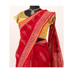 Red Chanderi Cotton Silk Saree Handblock Pine Print