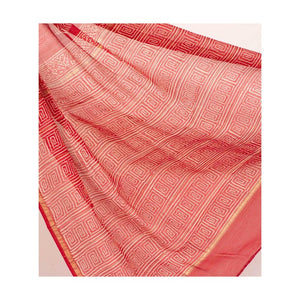 Red Chanderi Cotton Silk Saree Handblock Pine Print - Paakhee - Handcrafting Dreams