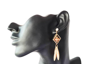 Brown stone studded dangler earrings