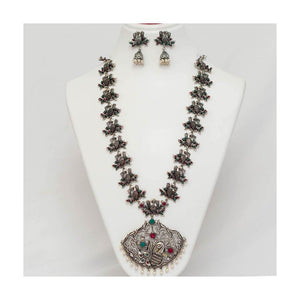 Grandeur peacock German silver pendant Jewellery Set with pearl droplet - Paakhee - Handcrafting Dreams
