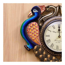 Load image into Gallery viewer, Wall Clock | Babool wood | Peacock Theme | Rajasthan Handicraft - Paakhee - Handcrafting Dreams