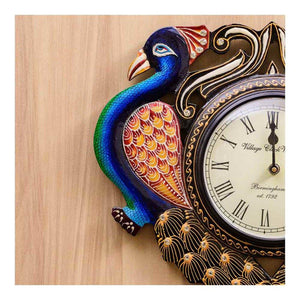Peacock themed wall clock