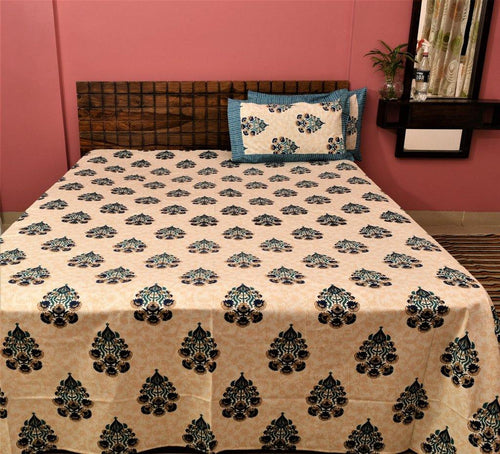 Cotton Double Bedsheet | Rajasthani Print | Dabu Blue Pattern | 100 by 108 inches - Paakhee - Handcrafting Dreams