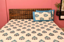 Load image into Gallery viewer, Cotton Double Bedsheet | Rajasthani Print | Dabu Blue Pattern | 100 by 108 inches - Paakhee - Handcrafting Dreams
