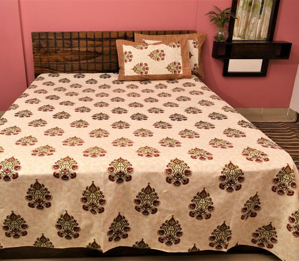 Cotton Double Bedsheet | Rajasthani Print | Dabu Orange Pattern | 100 by 108 inches - Paakhee - Handcrafting Dreams