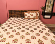 Load image into Gallery viewer, Cotton Double Bedsheet | Rajasthani Print | Dabu Orange Pattern | 100 by 108 inches - Paakhee - Handcrafting Dreams