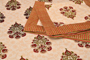 Soft cotton Dabu Print Bedsheet - Orange