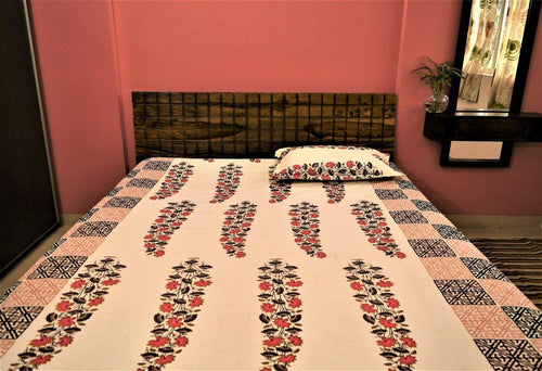 Cotton Double Bedsheet | Rajasthani Print | Tulip Pattern | 90 by 108 inches - Paakhee - Handcrafting Dreams