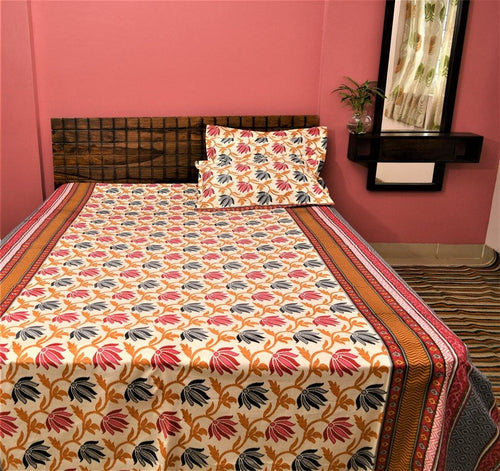 Cotton Double Bedsheet | Rajasthani Print | Floral Pattern | 90 by 108 inches - Paakhee - Handcrafting Dreams