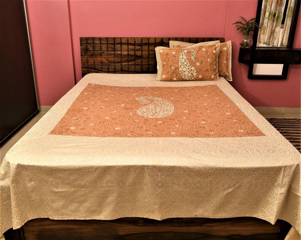 Cotton Double Bedsheet | Rajasthani Print | Golden Chinah Pattern | 100 by 100 inches - Paakhee - Handcrafting Dreams