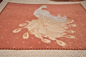 Cotton Double Bedsheet | Rajasthani Print | Peacock Pattern | 100 by 100 inches - Paakhee - Handcrafting Dreams