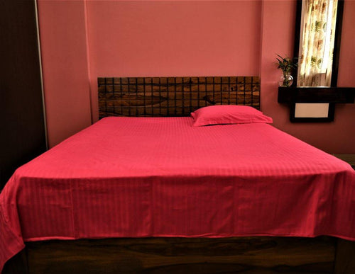 Cotton Double Bedsheet | Rajasthani Print | Dark Pink Colour | 100 by 108 inches - Paakhee - Handcrafting Dreams
