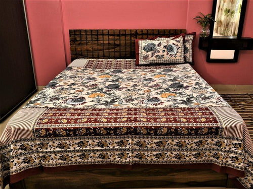 Cotton Double Bedsheet | Rajasthani Print | Bageecha Pattern | 90 by 108 inches - Paakhee - Handcrafting Dreams
