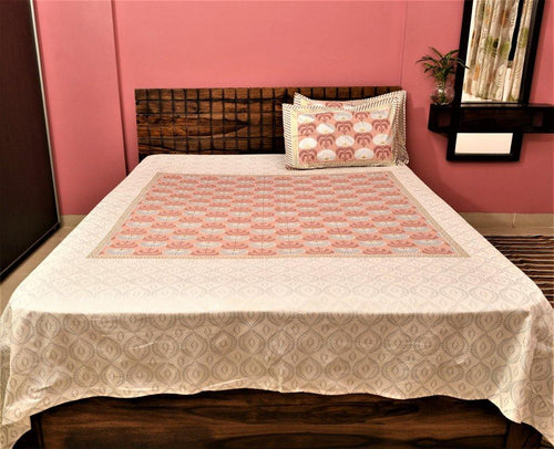 Cotton Double Bedsheet | Rajasthani Print | Ajrakh Pattern | 100 by 100 inches - Paakhee - Handcrafting Dreams