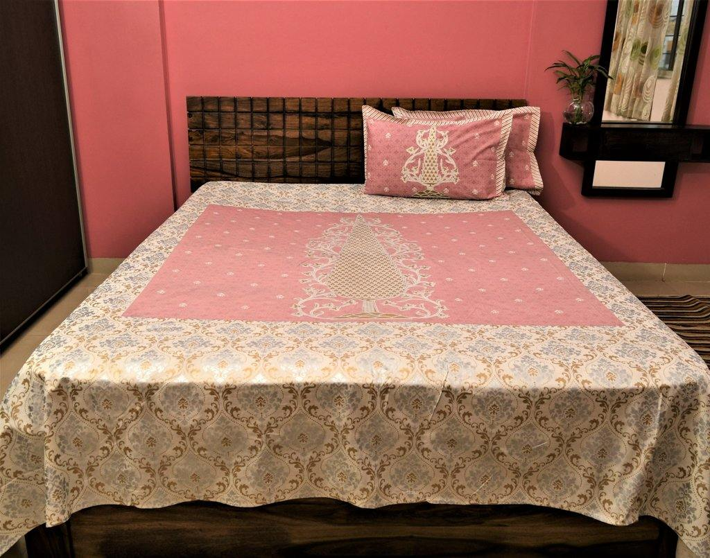 Cotton Double Bedsheet | Rajasthani Print | Tree Pattern | 100 by 100 inches - Paakhee - Handcrafting Dreams