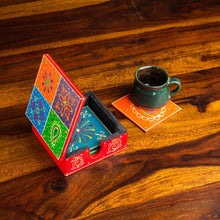 Load image into Gallery viewer, Wooden Coaster Set | Set of 6 coasters | Made of Babool wood | Rajasthani handicraft - Paakhee - Handcrafting Dreams