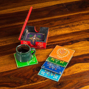 Wooden Coaster Set | Set of 6 coasters | Made of Babool wood | Rajasthani handicraft - Paakhee - Handcrafting Dreams