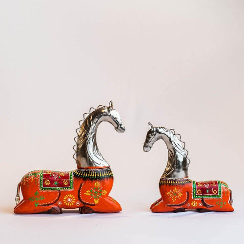 Mare and Foal Horse - Set of 2 - Wood and Metal - Paakhee - Handcrafting Dreams