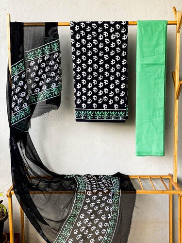 Hand block black mulmul cotton three piece suit set - Paakhee - Handcrafting Dreams