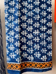 Hand block blue mulmul cotton three piece suit set - Paakhee - Handcrafting Dreams