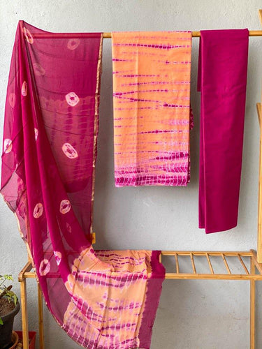 Hand block pink orange tie dye mulmul cotton three piece suit set - Paakhee - Handcrafting Dreams