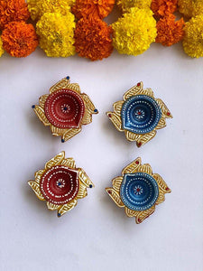 Handmade Square Diyas - Set of 4 - Paakhee - Handcrafting Dreams