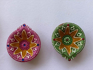 Handmade Multi Coloured Clay Diyas - Set of 4 - Paakhee - Handcrafting Dreams
