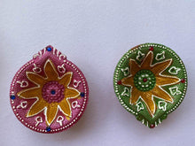 Load image into Gallery viewer, Handmade Multi Coloured Clay Diyas - Set of 4 - Paakhee - Handcrafting Dreams