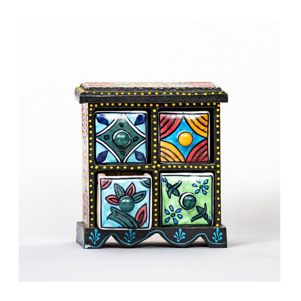 Ceramic Drawer with wooden frame - 4 drawer - Black base - Paakhee - Handcrafting Dreams