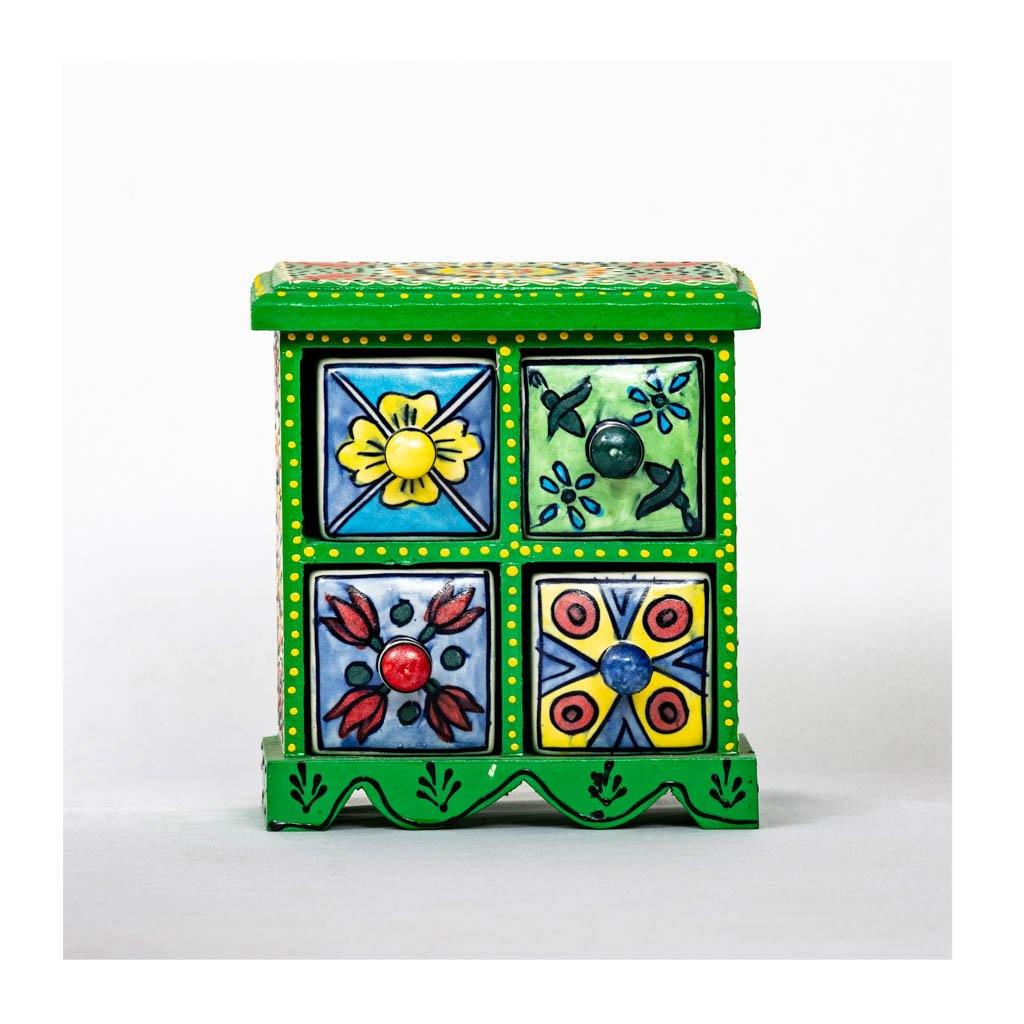 Ceramic Drawer with wooden frame - 4 drawer - Green base - Paakhee - Handcrafting Dreams