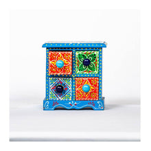 Load image into Gallery viewer, Wooden Drawer with wooden frame - 4 drawer - Blue base - Paakhee - Handcrafting Dreams