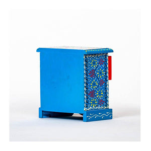 Wooden Drawer with wooden frame - 4 drawer - Blue base - Paakhee - Handcrafting Dreams