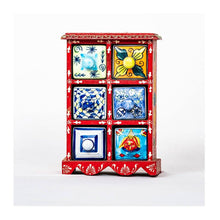 Load image into Gallery viewer, Ceramic Drawer with wooden frame - 6 drawer - Red base - Paakhee - Handcrafting Dreams