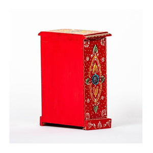 Ceramic Drawer with wooden frame - 6 drawer - Red base - Paakhee - Handcrafting Dreams