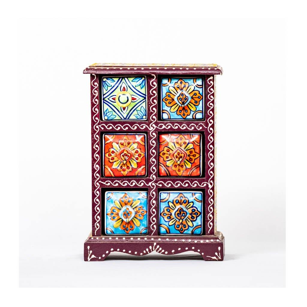 Ceramic Drawer with wooden frame - 6 drawer - Purple base - Paakhee - Handcrafting Dreams