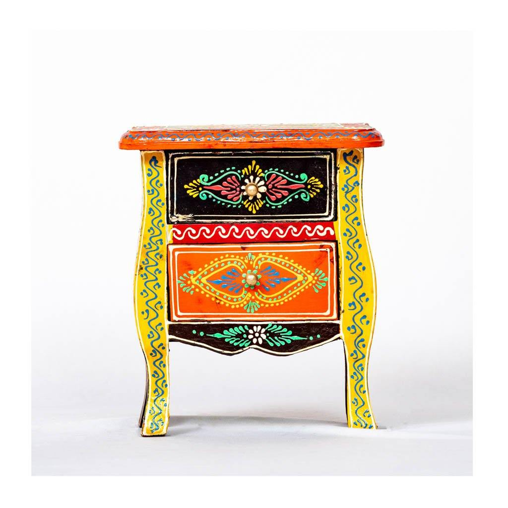Wooden Drawer with wooden frame - 2 drawer - Yellow base - Paakhee - Handcrafting Dreams