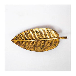Metal Decorative Tray | Leaf shape | Small | Rajasthan Handicraft | Made in Cast Iron - Paakhee - Handcrafting Dreams