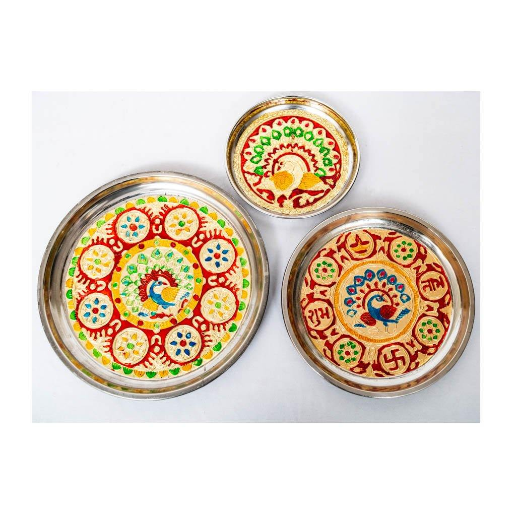 Puja Thali - Set of 3 - Small, Medium, Large - Paakhee - Handcrafting Dreams