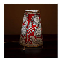 Load image into Gallery viewer, Tall Andhra leather lamp with bulb & Bulb holder - Red Flower theme - Paakhee - Handcrafting Dreams