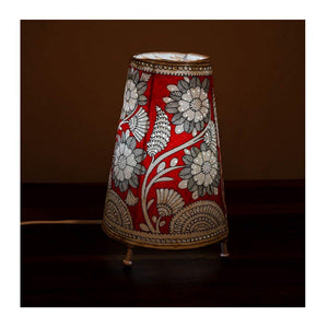 Tall Andhra leather lamp with bulb & Bulb holder - Red Flower theme - Paakhee - Handcrafting Dreams