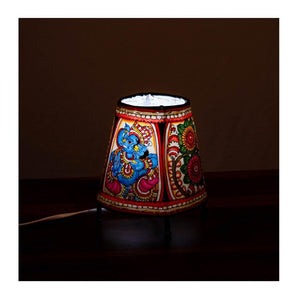 Andhra leather lamp with bulb & Bulb holder - Multi colour ganesha theme - Paakhee - Handcrafting Dreams