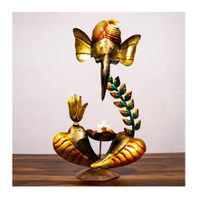 Load image into Gallery viewer, Leaf Ganesha Tea Light Holder - Paakhee - Handcrafting Dreams