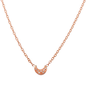 Diamond Pavé Crescent Moon Necklace