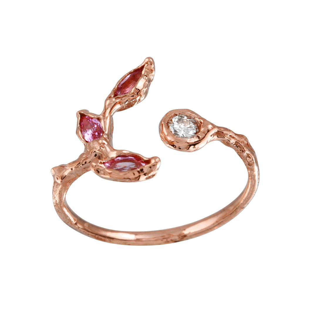 Pink Sapphire Leaves w/ Champagne Diamond Ring