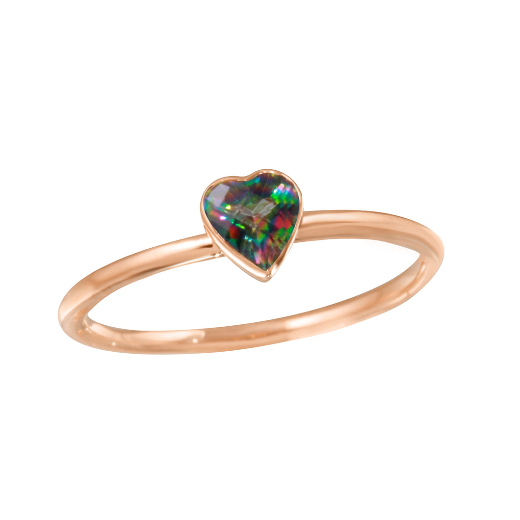 Heart Rainbow Topaz Ring