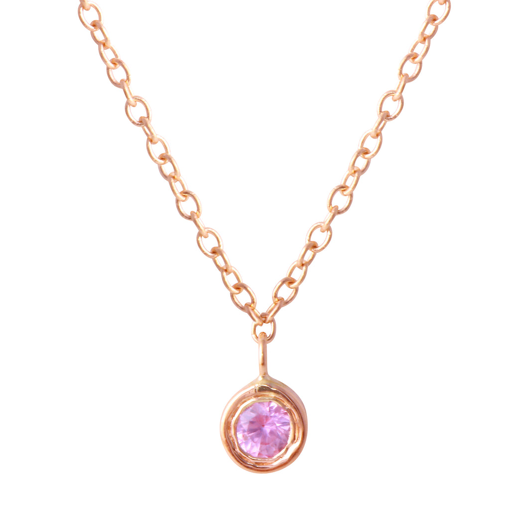 Dainty Pink Sapphire Necklace