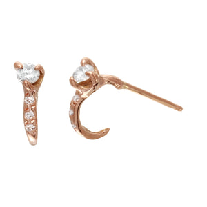 Single Diamond w/ Diamond Pavé hoop Stud