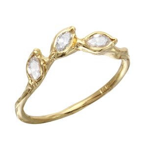 Three Diamond Leaf Ring