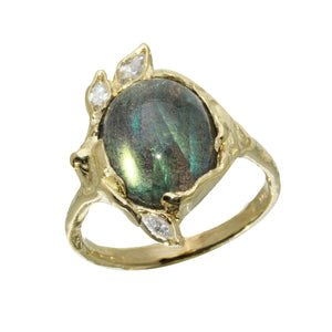 Oval Labradorite w/ Diamond Leaves Ring